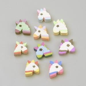 Polymeer kralen unicorn, 5 stuks