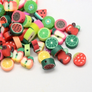 Polymeer kralen fruit, 5 stuks