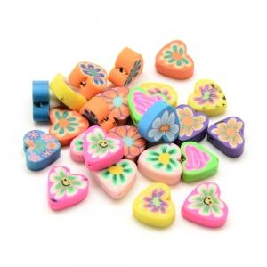 Polymeer kralen hart, 5 stuks