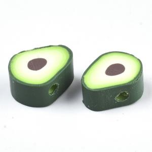 Polymeer kralen avocado, 5 stuks