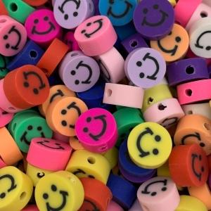 Polymeer kralen smiley, 5 stuks