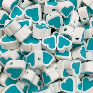 Polymeer kralen hartje, per 5 stuks