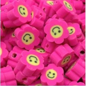 Polymeer kralen bloem deep pink, 5 stuks