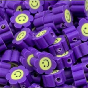 Polymeer kralen bloem purple, 5 stuks