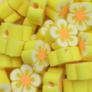 Polymeer kralen bloem yellow, 5 stuks
