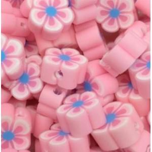 Polymeer kralen bloem pink, 5 stuks