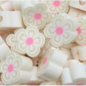 Polymeer kralen bloem white, 5 stuks