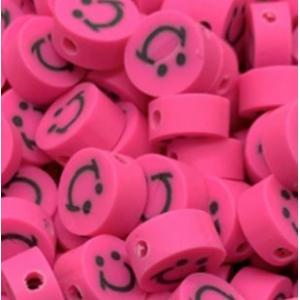 Polymeer kralen smiley dark pink, 5 stuks