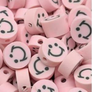 Polymeer kralen smiley light pink, 5 stuks