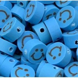 Polymeer kralen smiley blue, 5 stuks
