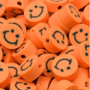Polymeer kralen smiley orange, 5 stuks