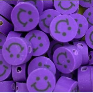 Polymeer kralen smiley purple, 5 stuks