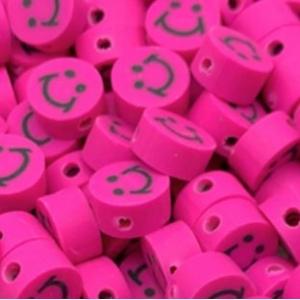 Polymeer kralen smiley magenta, 5 stuks