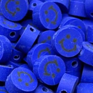 Polymeer kralen smiley dark blue, 5 stuks