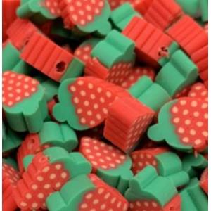 Polymeer kralen framboos, per 5 stuks