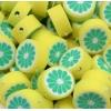 Polymeer kralen citroen, per 5 stuks