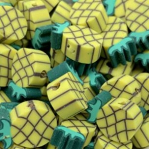 Polymeer kralen pineapple, per 5 stuks