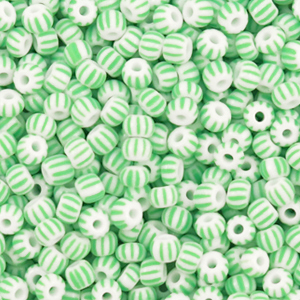Preciosa rocailles 3mm white mint green, 5 gram