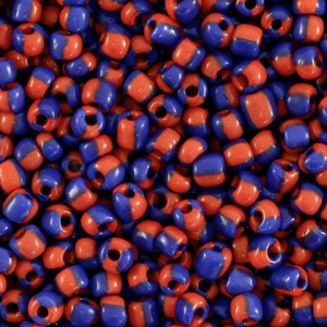 Rocailles 3mm stripes red blue, 5 gram