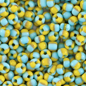 Rocailles 3mm stripes light blue yellow, 5 gram
