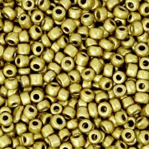Rocailles 3mm metallic brass gold, 15 gram