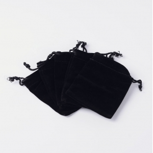 Velvet sieradenzakje 7x9cm zwart, per stuk