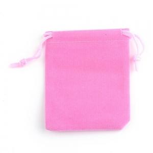 Velvet sieraden zakje 7x9cm pink, per stuk