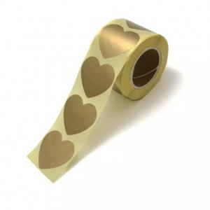Stickers hearts metallic gold groot 5cm, 10 stuks