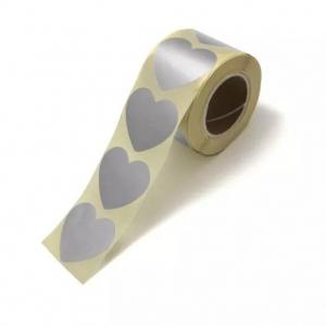 Stickers hearts metallic silver groot 5cm, 10 stuks