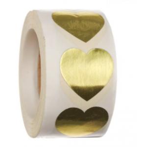 Stickers hearts metallic gold klein 2.5cm, 20 stuks
