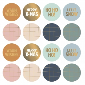 Stickers Kerst groot 5cm, 8 stuks