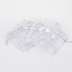 Sieradenzakjes 7x9cm wit, 5 stuks
