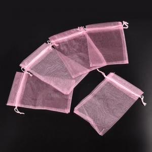 Sieradenzakjes 7x9cm roze, 5 stuks