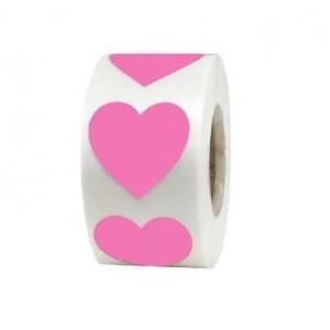 Stickers pink heart 2.5cm, 20 stuks
