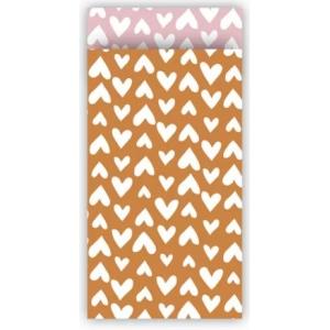 Papieren cadeauzakjes ethnic hearts roest/roze 7x13cm, 5 stuks