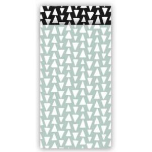 Papieren cadeauzakjes ethnic triangles salie/zwart 7x13cm, 5 stuks