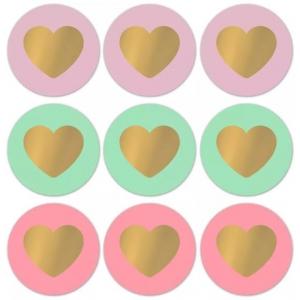 Stickers lovely hearts groot 5cm, 12 stuks