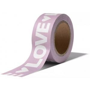 Washitape Love letters lila 10 meter, per rol