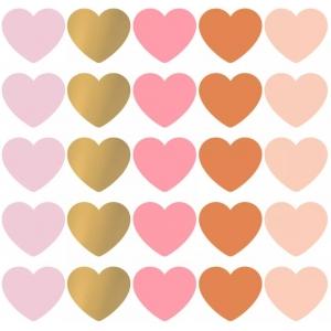 Stickers hearts multi colour groot 5cm, 10 stuks